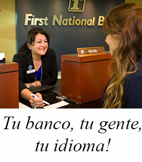 "A banker behind the counter greets a customer.  The caption below the image says in the Spanish language: ""Tu banco, tu gente, tu idioma"" (in English this caption means: Your bank, your people, Your language)."