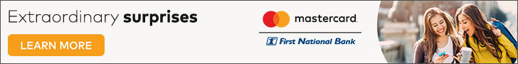 "Image with link to ""LEARN MORE"" about the Priceless Surprises promotion offered by Mastercard and JHA CPS of which FNB is a participating card issuer.  Also includes image of two young women smiling."